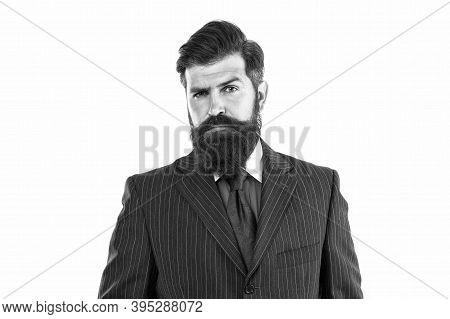 Visit Your Barber Regularly. Serious Boss Wear Beard. Beard Barber. Bearded Man In Formal Style. Bar