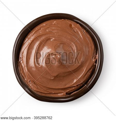 bowl with chocolate spread on white background isolated
