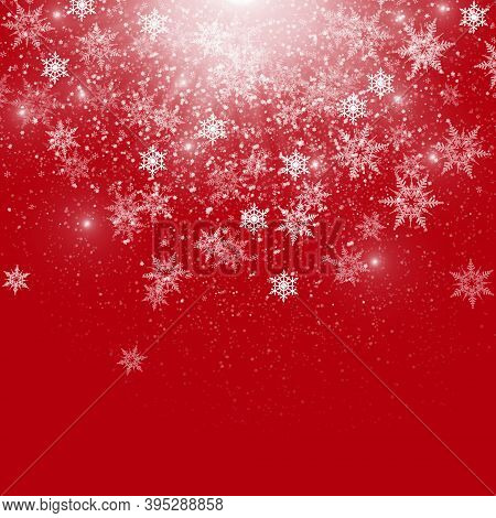 Red Winter Background With Snowflakes And Sparkles. Christmas Card, Xmas Background