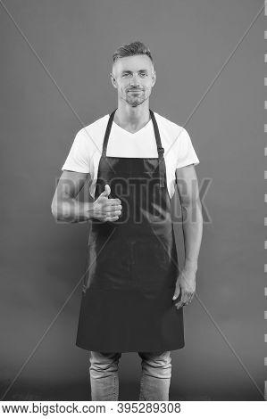 Waiter Or Bartender. Cafe Bar Barista Job Position. Handsome Barista. Hiring Concept. Barista Worker