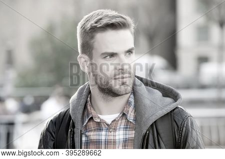 Fashion Purposes Comfort. Young Man In Casual Clothing On Urban Background. Handsome Man Wear Casual