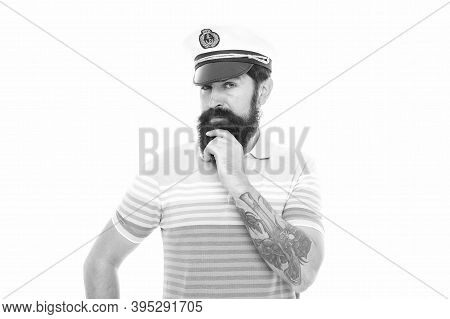 Think Blue And Go Green. Serious Seaman With Beard Isolated On White. Serious Look Of Bearded Man. S