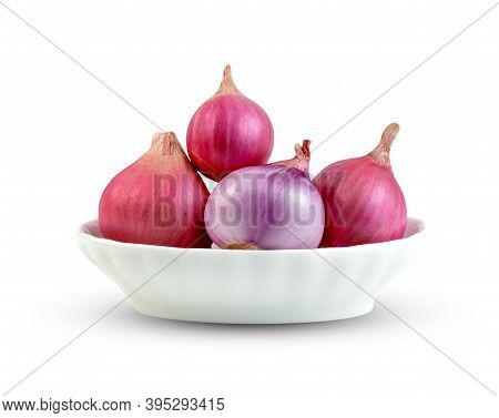 Shallots Onion In Bowl Isolated On A White Background ,include Clipping Path