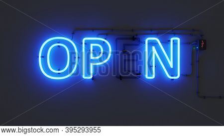 neon sign open with defective segment 3D illustration