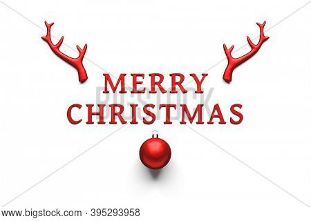 Merry Christmas Decoration red antlers and ball 3D illustration
