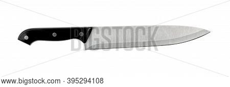 Kitchen Knife And Black Handle Isolated On White Background ,include Clipping Path