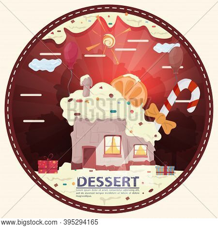 Cupcake House With A Slice Of Citrus On The Roof, Among The Gifts In The Glade Of Icing, With The In
