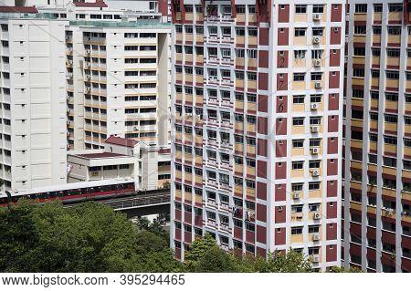 Singapore- 14 Nov, 2020: Singapore Residential Housing Estate With Apartment Blocks In Choa Chu Kang