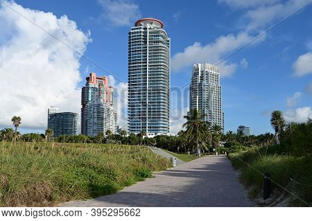 Miami Beach, Florida - August 29, 2020 - Residential Towers On South Beach During Coronavirus Beach