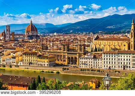 Florence , Italy - August 8 , 2020 : Cityscape skyline with Arno river landmark of Tuscany Italy