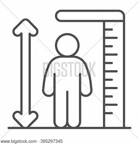 Ruler And Human Height Thin Line Icon, Aquapark Concept, Man Tall Scale Sign On White Background, Ma