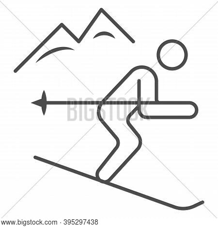 Downhill Skiing Thin Line Icon, Winter Sport Concept, Snow Skiing Sign On White Background, Ski Down