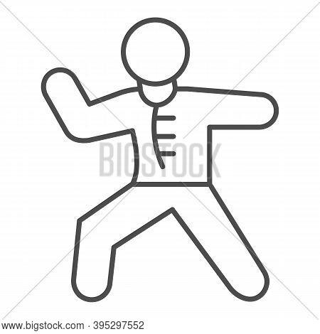 Karate Sportsman Thin Line Icon, Self Defense Concept, Karate Kick Sign On White Background, Martial