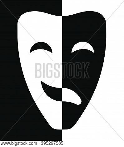 Comedy And Tragic Theatrical Masks Joined Together. Theatrical Premieres, Circus Poster. Vector
