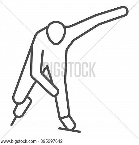 Skater Thin Line Icon, Winter Sport Concept, Speed Ice Skating Sign On White Background, Ice Skater
