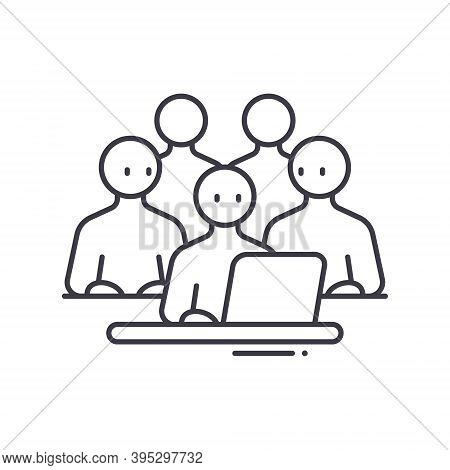 Workgroup People Icon, Linear Isolated Illustration, Thin Line Vector, Web Design Sign, Outline Conc