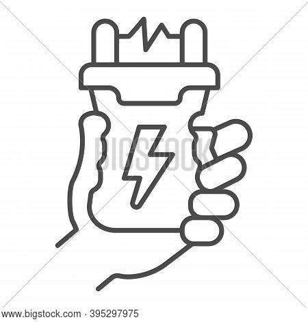 Stun Gun In Hand Thin Line Icon, Self Defense Concept, Electric Shock In Arm Sign On White Backgroun