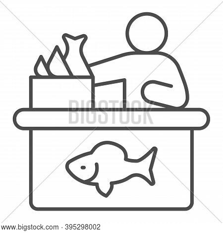 Seller In Fish Store Thin Line Icon, Fishing Concept, Fish Market With Seller And Seafood Sign On Wh