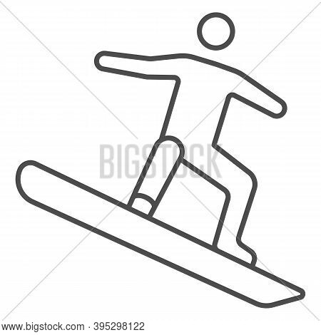 Freestyle Snowboarding Thin Line Icon, Winter Sport Concept, Snowboarder Jumping Sign On White Backg
