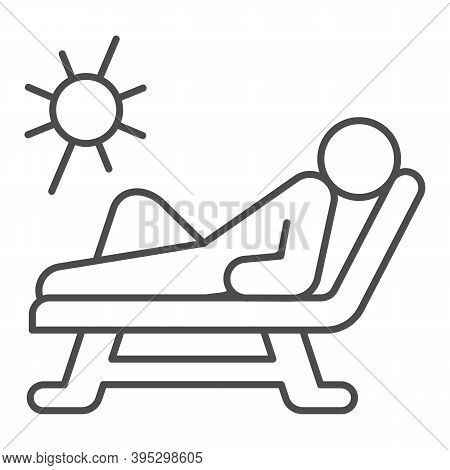 Beach Chair And A Man Relaxing In Sun Thin Line Icon, Aquapark Concept, Man Sunbathing Sign On White
