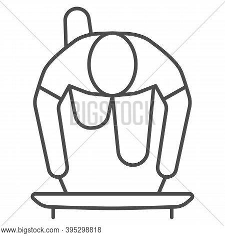 Skeleton Athlete Thin Line Icon, Winter Sport Concept, Skeleton Sportsman Sign On White Background,