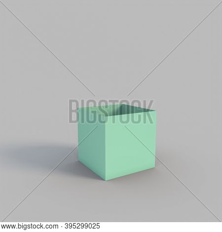 empty green box in cube shape on gray background. 3d render.