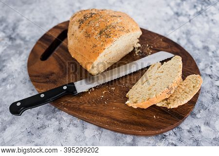 Simple Food Ingredients, Homemade Australian Damper Bread Without Yeast Freshly Made And On Top Of C