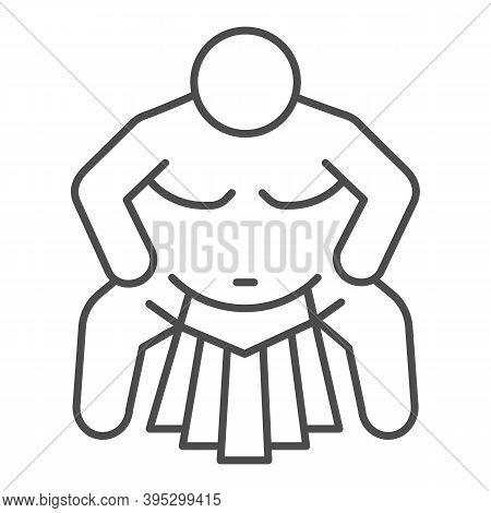 Sumo Sportsman Thin Line Icon, Self Defense Concept, Sumo Wrestling Sign On White Background, Martia