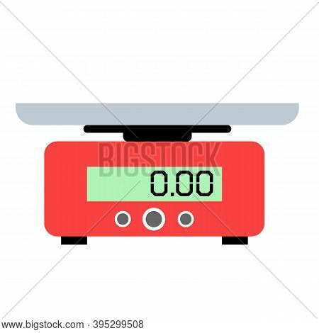 Food Weight Kitchen On White Background. Domestic Weigh Scale Food Balance Sign. Food Scale Symbol.