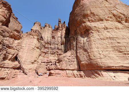 The Pillars Of Solomon In The Timna Valley Near Eilat In Southern Israel. Geological Rock Formations