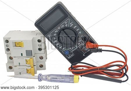 Electrical Modular Circuit Breaker And Digital Multimeter On White Background