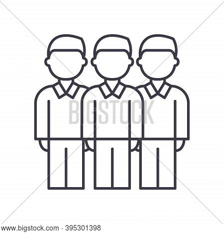 Workgroup People Concept Icon, Linear Isolated Illustration, Thin Line Vector, Web Design Sign, Outl