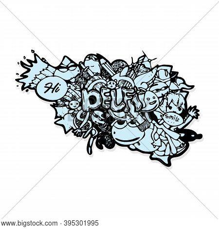 Cartoon Doodles Pattern With Monsters. Vector Hand Drawn Doodle Cartoon. Fine Art Doodles. Eps 10 Ve