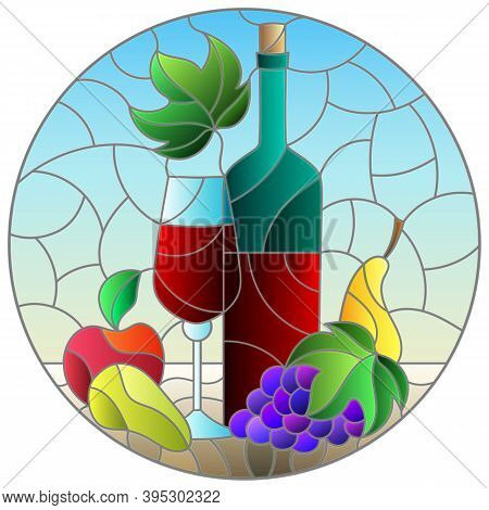 Stained Glass Illustration With Still Life,wine Bottle, Glass And Fruit, Round Image