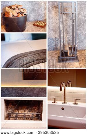 A Collage Of Objects Representing Warmth And Elegance In A Luxury Hotel