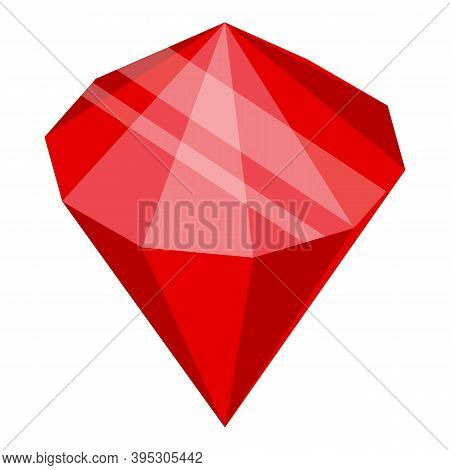 Bank Ruby Gemstone Icon. Isometric Of Bank Ruby Gemstone Vector Icon For Web Design Isolated On Whit