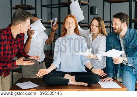 Portrait Of Calm Young Business Woman Meditate At Business Meeting Avoiding Pressure Annoying Angry