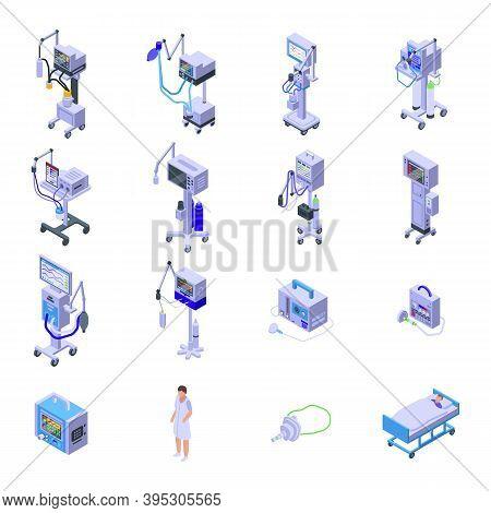 Ventilator Medical Machine Icons Set. Isometric Set Of Ventilator Medical Machine Vector Icons For W
