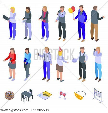 Event Management Icons Set. Isometric Set Of Event Management Vector Icons For Web Design Isolated O