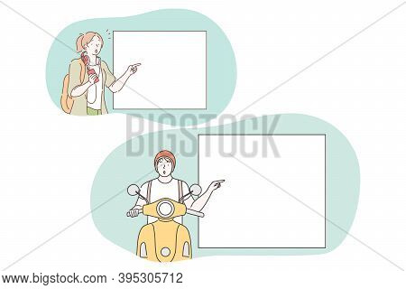 Demonstration, Promotion, Advertisement Concept. Young Woman And Motorcyclist Pointing With Fingers