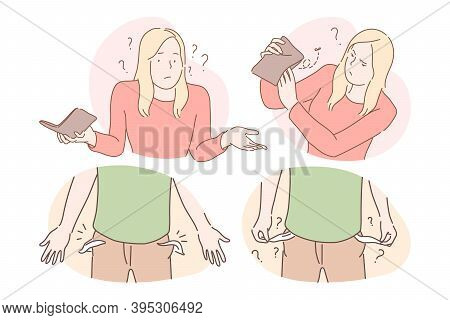 Money Loss And Cash Robbery Concept. Frustrated Man And Woman Cartoon Characters Showing Money Loss