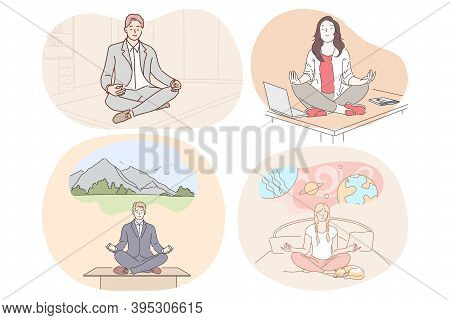 Meditation, Relaxation, Reaching Harmony During Working Day And Before Sleep Concept. Young Men And