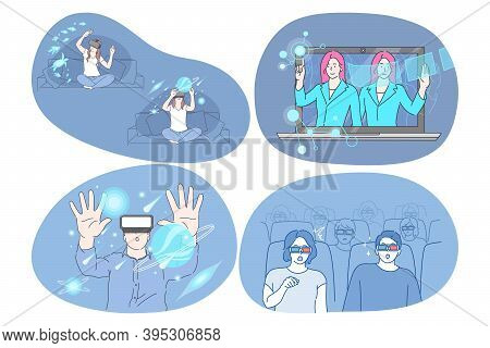 Virtual Reality And Cyberspace Through 3d Glasses Concept. Young Surprised Women And Men Wearing Spe