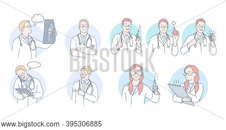 Medicare, Healthcare, Doctors And Therapist During Work Concept. Professional Doctors Men And Women