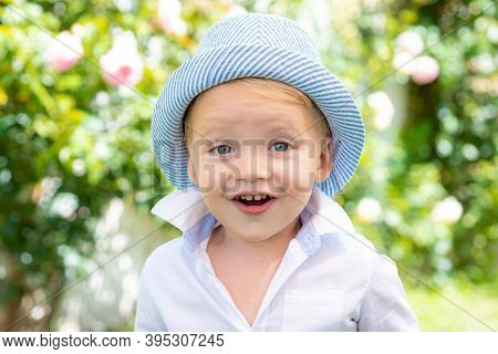 Fun, Funny Child Face. Beautiful Fun Day For Cute Little Boy In Nature. Only Fun Is On My Mind. Ador