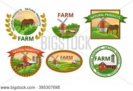 Natural Farm Products Labels Set. Healthy Organic Farm Fresh Food Stickers With Rural Landscapes And