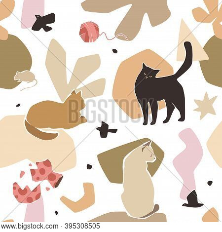 Cats Seamless Pattern With Abstract Creme Colored Shapes. Modern Flat Pet Characters, Broken Vase, B