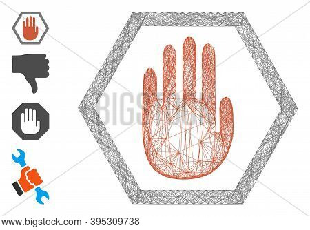 Vector Wire Frame Abort Hand. Geometric Hatched Frame 2d Net Generated With Abort Hand Icon, Designe