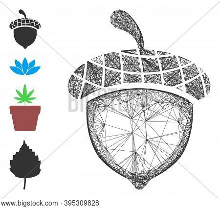 Vector Wire Frame Acorn. Geometric Wire Carcass Flat Network Made From Acorn Icon, Designed From Cro