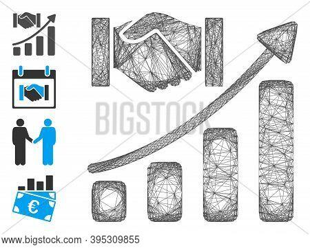 Vector Net Acquisition Hands Growth Chart. Geometric Linear Carcass 2d Net Made From Acquisition Han